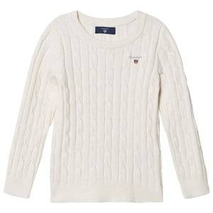 Gant Girls Jumpers and knitwear White Cable Knit Sweater Eggshell