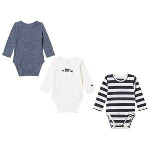 Hust&Claire; Boys All in ones Blue 3-Pack Baby Bodies Navy