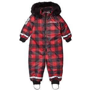 The BRAND Unisex Private Label Coveralls Red Coverall Checked Red with Black Fur