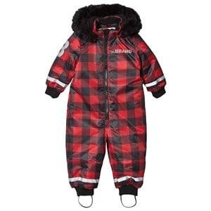 The BRAND Unisex Private Label Coveralls Red Overall Checked Red With Black Fur