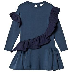 No Added Sugar Girls Dresses Navy Blue Jersey Dress Ruffle