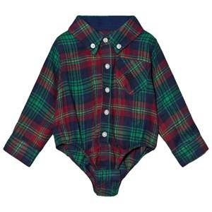 Andy & Evan Boys Tops Navy Navy Red Green Plaid Flannel Shirtzie