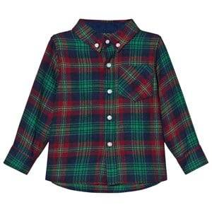 Andy & Evan Boys Tops Navy Navy/Red/Green Plaid Flannel Shirt