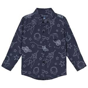 Andy & Evan Boys Tops Navy Navy Galaxy Print Shirt