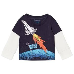 Andy & Evan Boys Tops Navy Space Bandits Tee