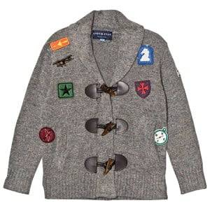 Andy & Evan Boys Jumpers and knitwear Grey Grey Patches Toggle Cardigan