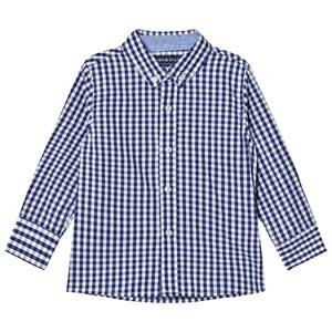 Andy & Evan Boys Tops Navy Navy/White Gingham Button Down Shirt