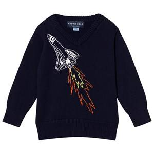 Andy & Evan Boys Jumpers and knitwear Navy Navy Spaceship Sweater
