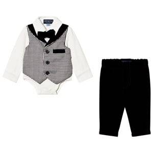 Andy & Evan Boys Clothing sets Black Houndstooth Playsuit