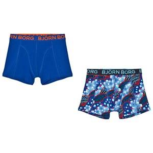 Bjorn Borg Boys Underwear Blue 2-Pack Navy Print/Solid Trunks