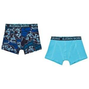 Bjorn Borg Boys Underwear Blue 2-Pack Blue Branded Print/Solid Trunks