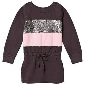 Kiss How To Kiss A Frog Girls Dresses Grey Gunnel Dress Dark Grey/Pink/Stripe