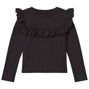 Kiss How To Kiss A Frog Girls Tops Black Frill Tee Black