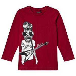 IKKS Boys Tops Red Burgundy Dog Rocker Tee