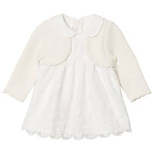 Mayoral Girls Clothing sets Cream Cream Embroidered Dress with Attached Cardigan