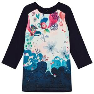 Catimini Girls Dresses Navy Navy Bohème Floral Two Material Panel Dress