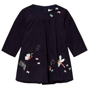 Catimini Girls Dresses Navy Navy Butterfly Embroidered Micro Cord Dress