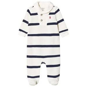 Ralph Lauren Boys All in ones Cream Footed Baby Body Cream/Navy Stripe