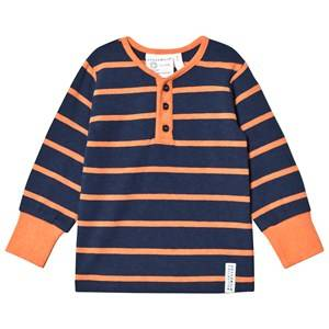 Geggamoja Boys Tops Blue Grandpa Tee Marine/Orange