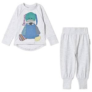Geggamoja Unisex Nightwear Grey 2-Piece Doddi Pyjamas Light Grey Melange