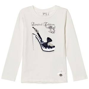 Le Chic Girls Tops White Off White High Heel Tee