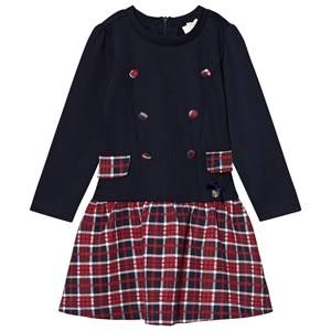 Le Chic Girls Dresses Blue Navy and Red Check Dress