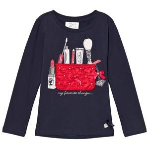 Le Chic Girls Tops Blue Navy Make Up Bag Tee