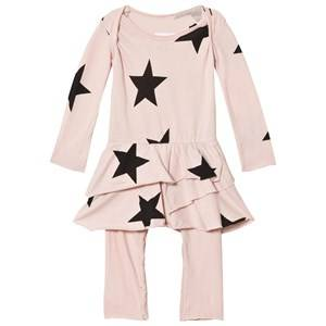 NUNUNU Girls Dresses Pink Star Onesie Skirt Powder Pink
