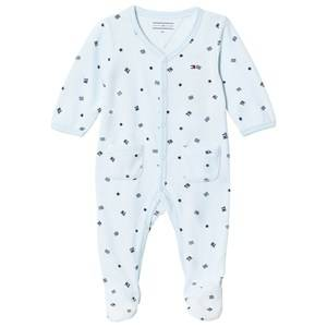 Tommy Hilfiger Boys All in ones Blue Branded Velour Footed Baby Body Pale Blue