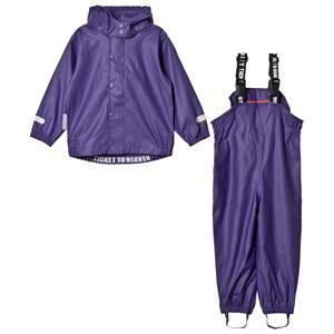 Ticket to heaven Girls Clothing sets Purple 2-Piece Authentic Rubber Rain Set with Detachable Hood Parachute Purple