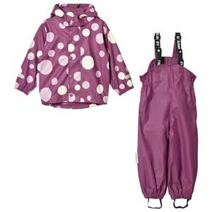 Ticket to heaven Girls Clothing sets Purple 2-Piece Rubber Rain Set with Detachable Hood Amaranth Print