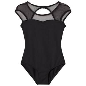 Bloch Girls All in ones Black Black Azurine Vine Flock, Scoop Back and Cap Sleeve Leotard
