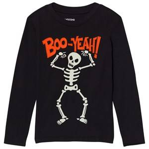 Lands End Boys Tops Black Black Skeleton Boo Long Sleeve Applique Tee