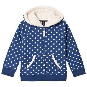 Lands End Girls Jumpers and knitwear Navy Navy White Dot Sherpa Hoodie