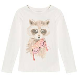 Lands End Girls Tops Cream Cream Raccoon Long Sleeve Graphic Tee
