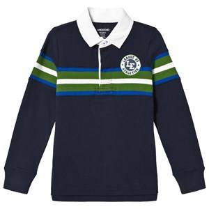 Lands End Boys Tops Navy Navy Long Sleeve Stripe Rugby with Crest