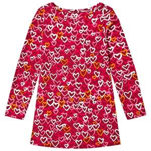 Lands End Girls Dresses Red Red Cardinal Hearts Pattern Knit Twirl Dress