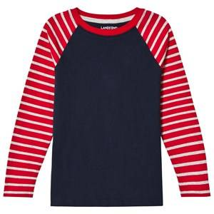 Lands End Boys Tops Red Red Stripe Long Sleeve Raglan Tee