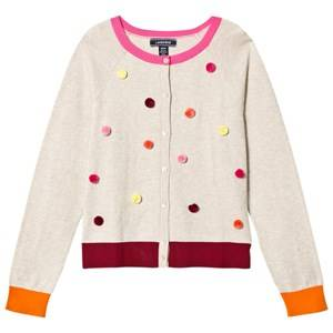 Lands End Girls Jumpers and knitwear Grey Grey with Multi Pom Pom Embellished Sophie Cardigan