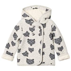 Tootsa MacGinty Unisex Jumpers and knitwear Grey Grey Bear Print Allover Quilted Hoodie