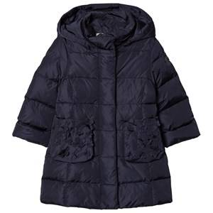 Il Gufo Girls Coats and jackets Navy Navy Down Long Line Hooded Coat with Flower Applique Detail