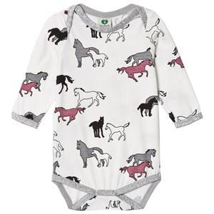Småfolk Girls All in ones Cream Cream Horse Print Baby Body