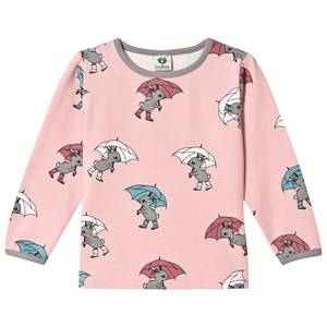 Småfolk Girls Tops Pink Pink Rabbit Umbrella Print Tee