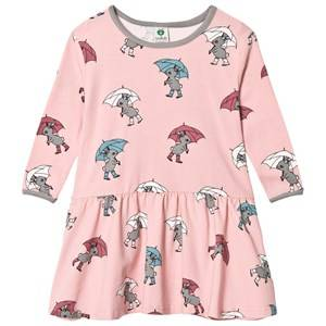 Småfolk Girls Dresses Pink Pink Rabbit Umbrella Print Dress