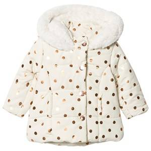Absorba Girls Coats and jackets Cream Cream and Gold Spot Padded Coat with Fleece Lining