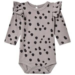 The BRAND Girls Private Label All in ones Grey Flounce Baby Body Grey Dot