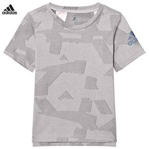 adidas Performance Boys Tops Grey Grey Printed Performance Training Tee