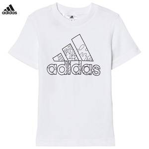 adidas Performance Boys Tops White White Branded Drawable Kids Tee