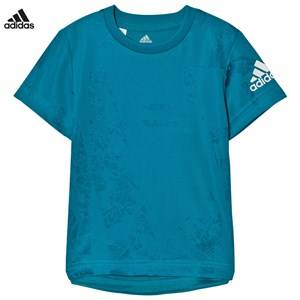 adidas Performance Boys Tops Blue Teal Kids Training Tee