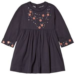 Velveteen Girls Dresses Navy Claudia Floral Sleeve Dress Navy